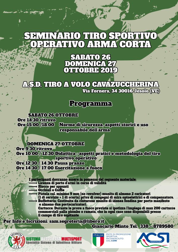 Seminario Tiro Sportivo Operativo Arma Corta